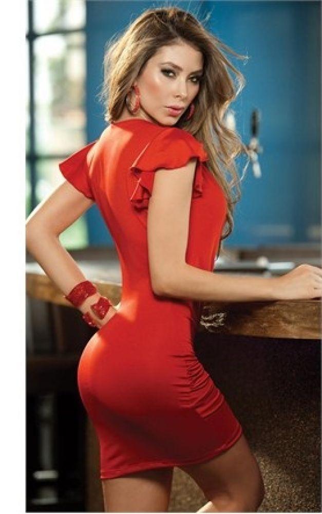 Kırmızı Gögüs Dekolteli Seksi Elbise Kırmızı Standart