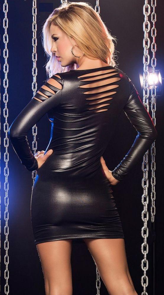 Deri Lazer Kesim Seksi Elbise