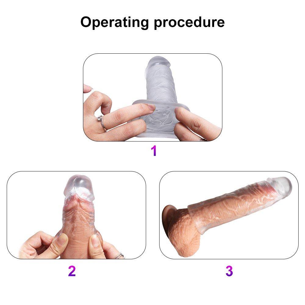 3 Farklı Boyda Özel Gerçekci Yumuşak Dokuya Sahip Harika Penis Kılıfı Seti